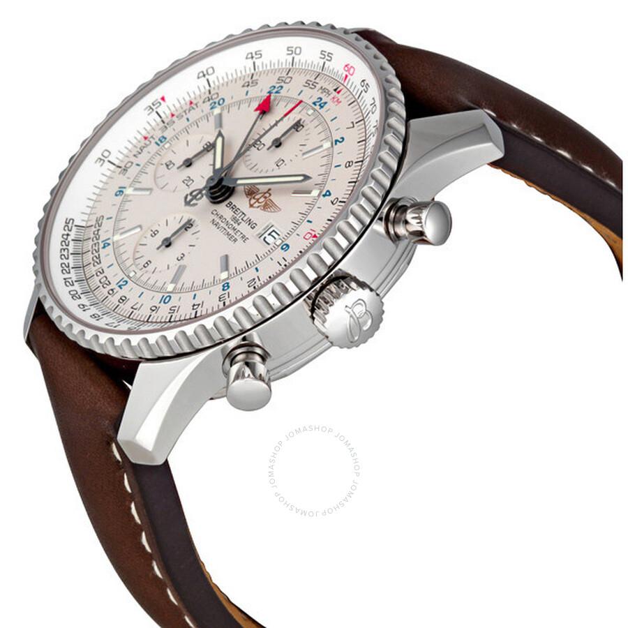 Breitling Navitimer World Steel Brown Strap Watch A2432212 ...