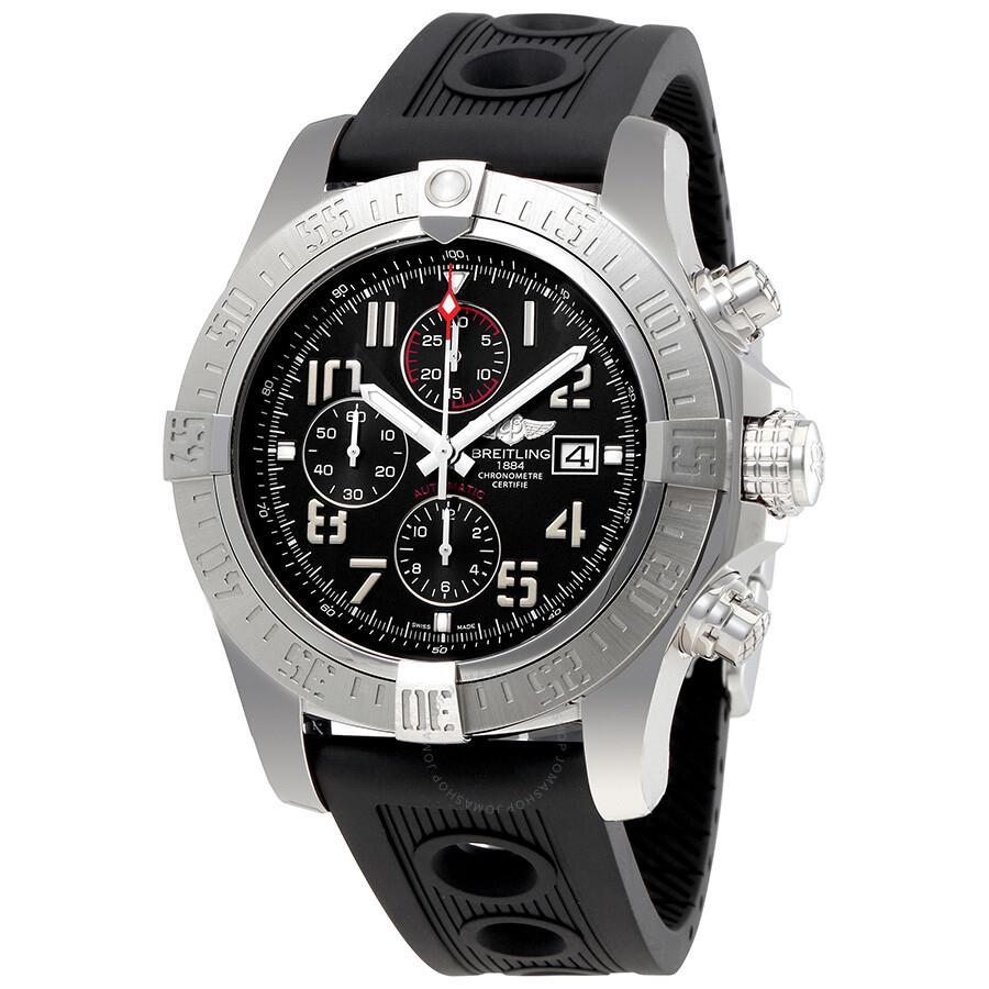 Breitling super avenger ii black dial black ocean racer men 39 s watch a1337111 bc28bkor super for Avenger watches