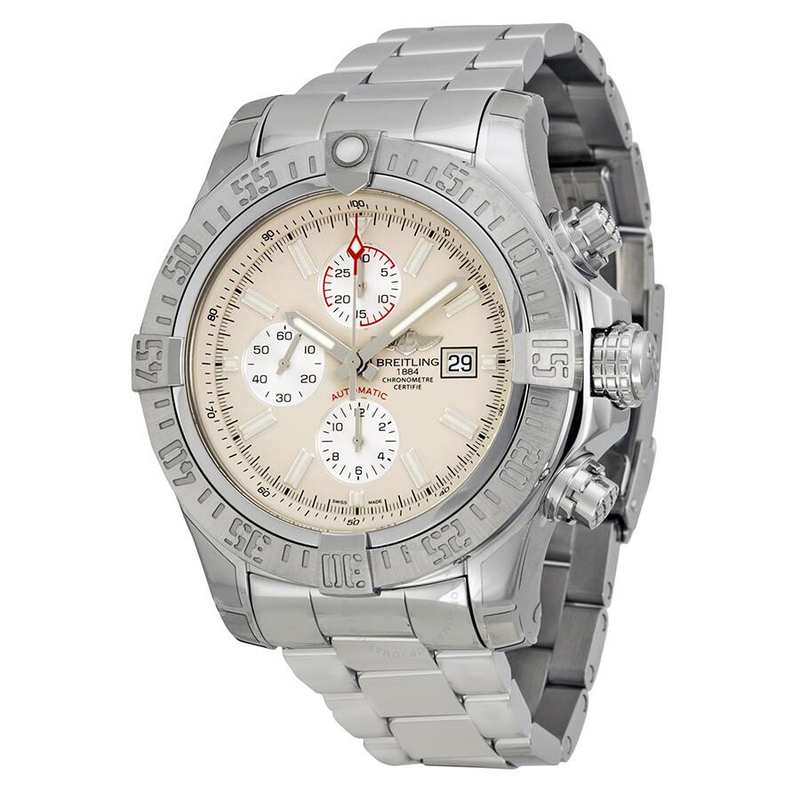 Breitling super avenger ii silver dial chronograph men 39 s watch a1337111 g779ss super avenger for Avenger watches