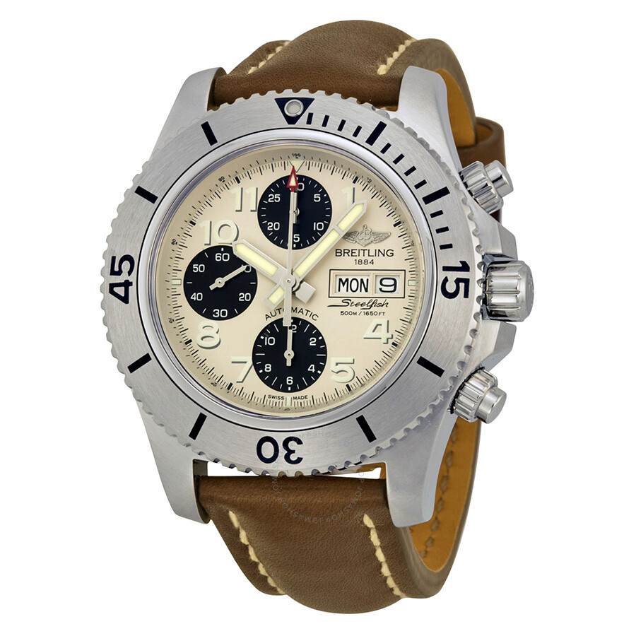 Breitling Superocean Chronograph Automatic Silver Dial Brown Leather Men S Watch A13341c3 G782brlt
