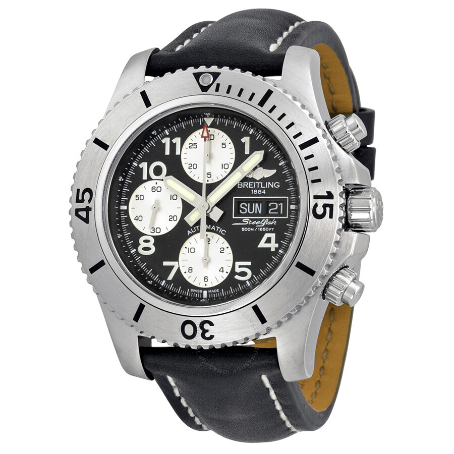 Breitling superocean chronograph steelfish automatic black dial black leather men 39 s watch for Watches breitling