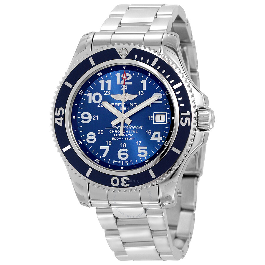 Breitling superocean ii 42 automaic mariner blue dial stainless steel men 39 s watch a17365d1 for Watches breitling