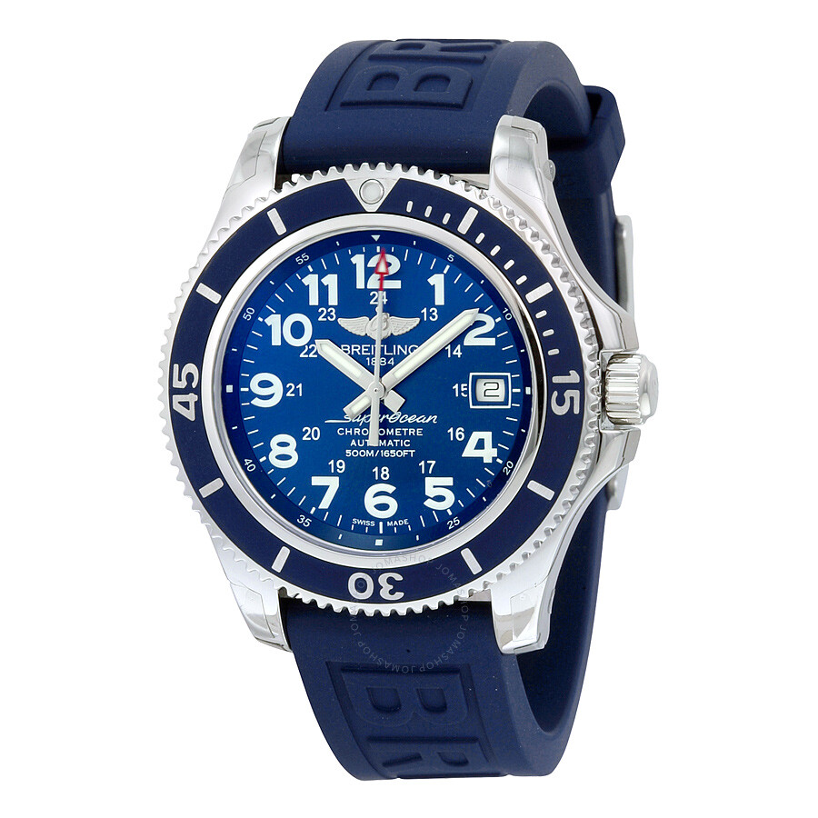 Breitling Superocean II 42 Automatic Blue Dial Blue Rubber ...