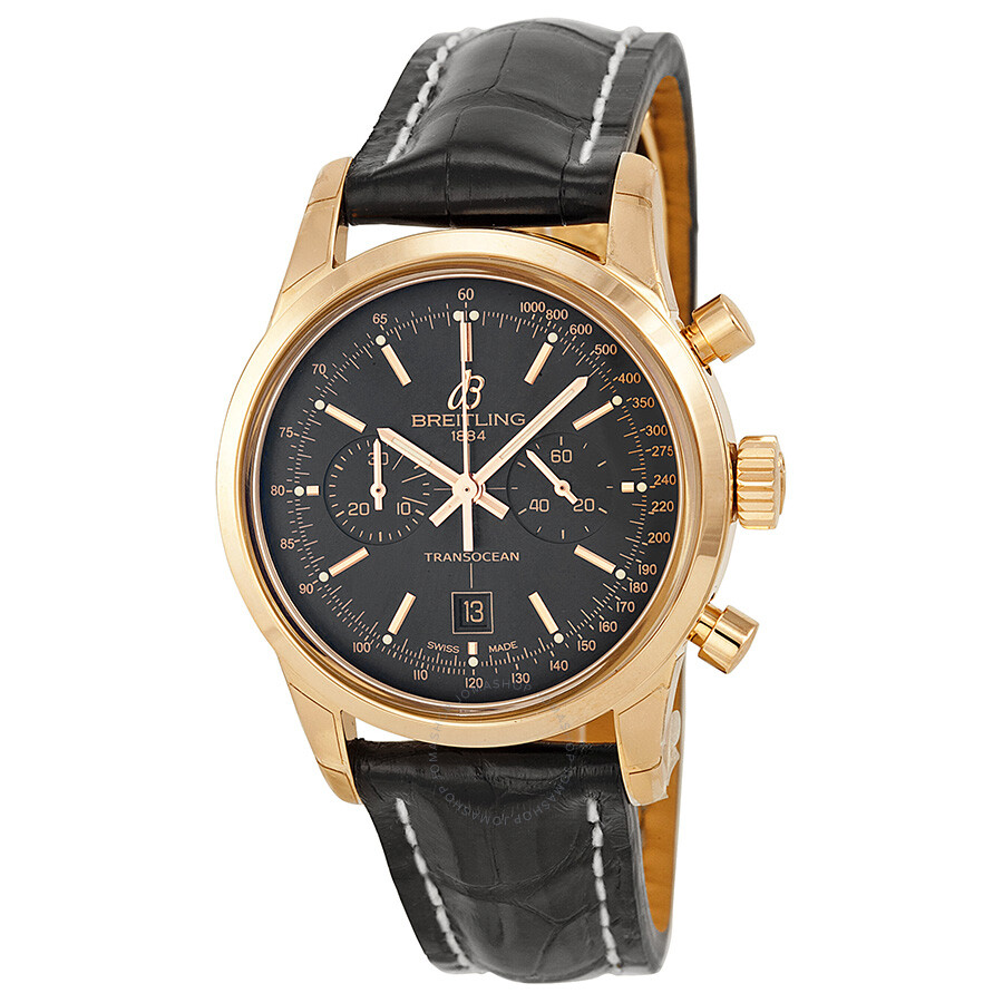 e285352a38a03 Breitling Transocean Chronograph 38 Black Dial 18kt Rose Gold Men s Watch  R4131012-BC07BKCD ...