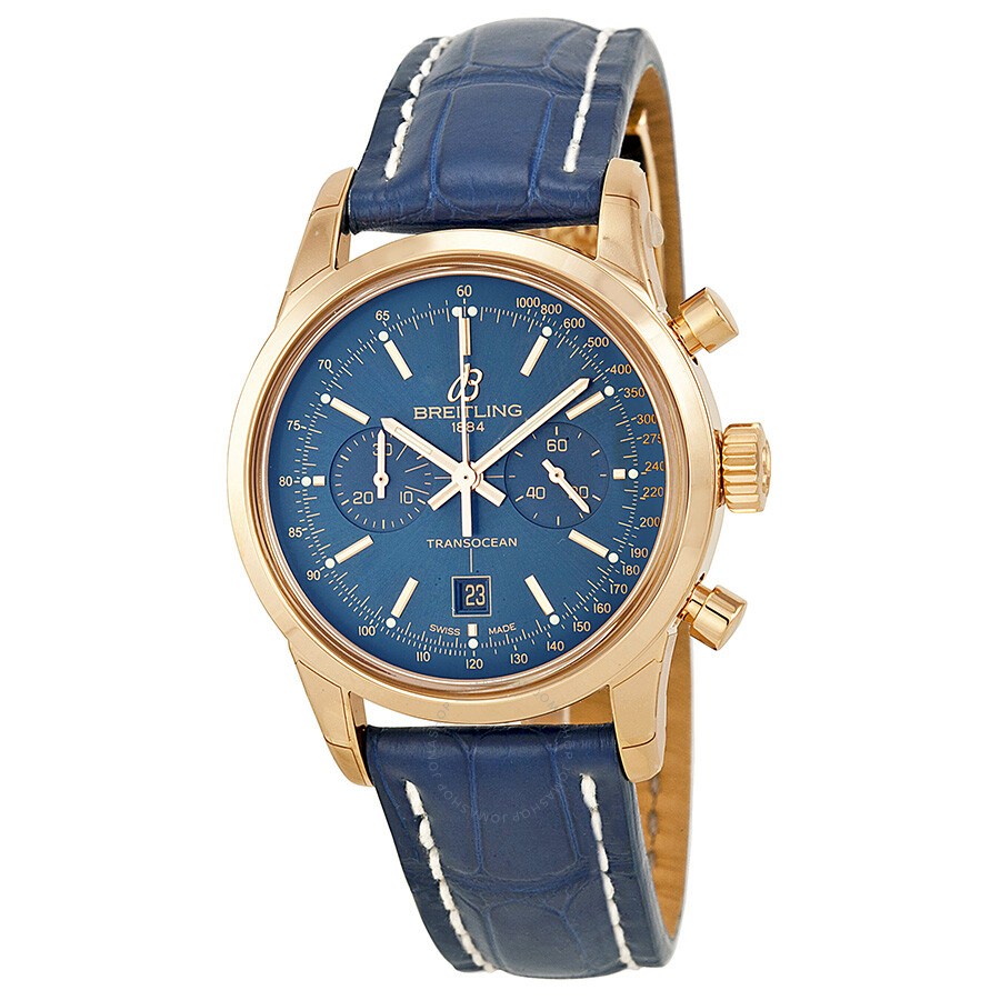 Breitling Transocean Chronograph 38 Blue Dial 18kt Rose Gold Men S