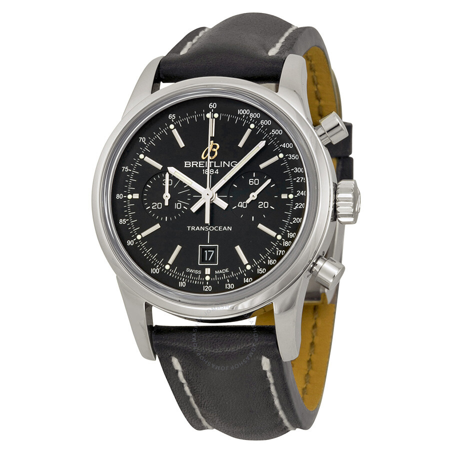 Breitling transocean chronograph automatic black dial black leather band stainless steel case for Breitling automatic