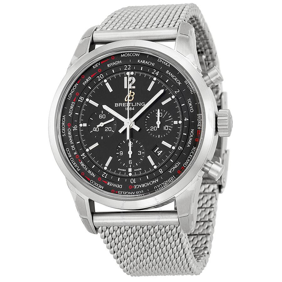 breitling transocean chronograph unitime black dial steel men 39 s watch ab0510u6 bc26ss. Black Bedroom Furniture Sets. Home Design Ideas