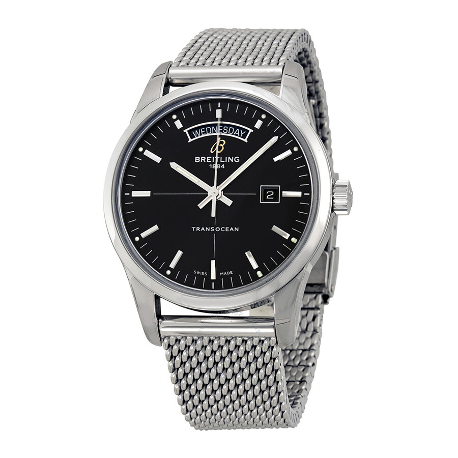 breitling transocean day date automatic black
