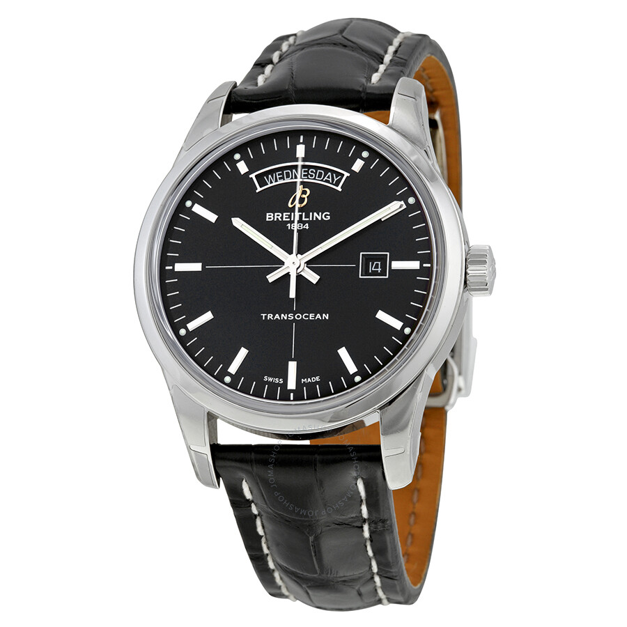 breitling transocean day date automatic black black