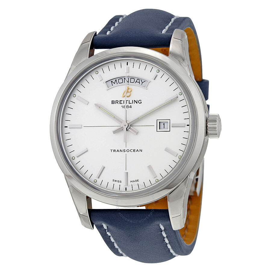 Breitling transocean day date automatic silver dial blue leather men 39 s watch a4531012 g751bllt for Breitling automatic