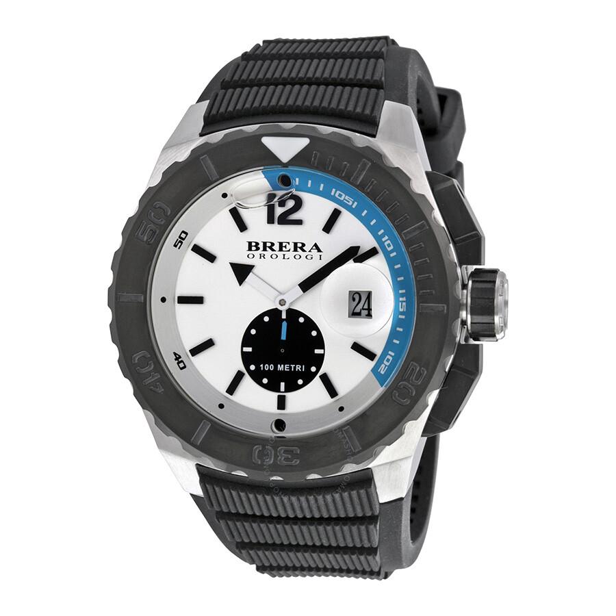 brera orologi aqua diver white enamel black rubber