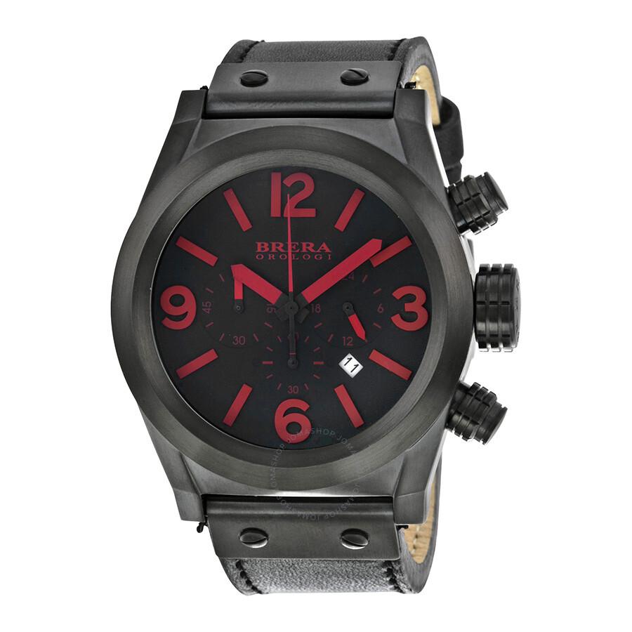 brera orologi eterno chronograph black black leather