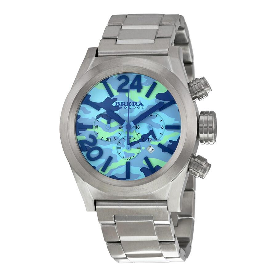 brera orologi eterno chronograph blue camouflage