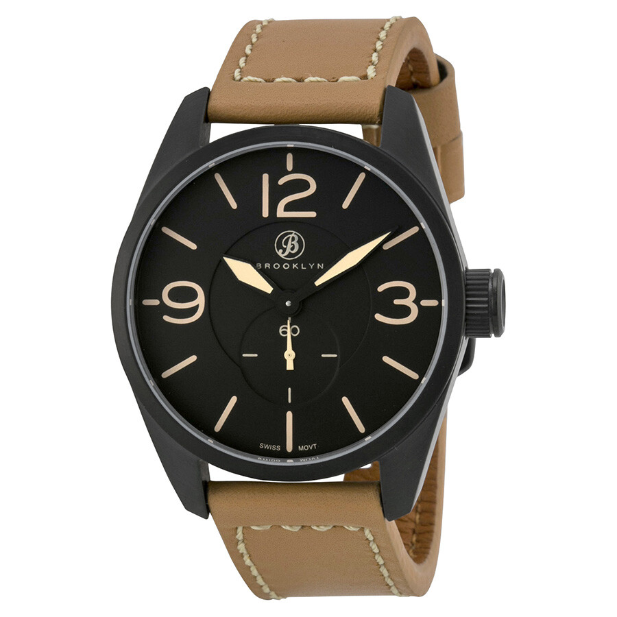 Brooklyn watch co lafayette black dial tan leather men 39 s watch cla c lafayette brooklyn for Black tan watch