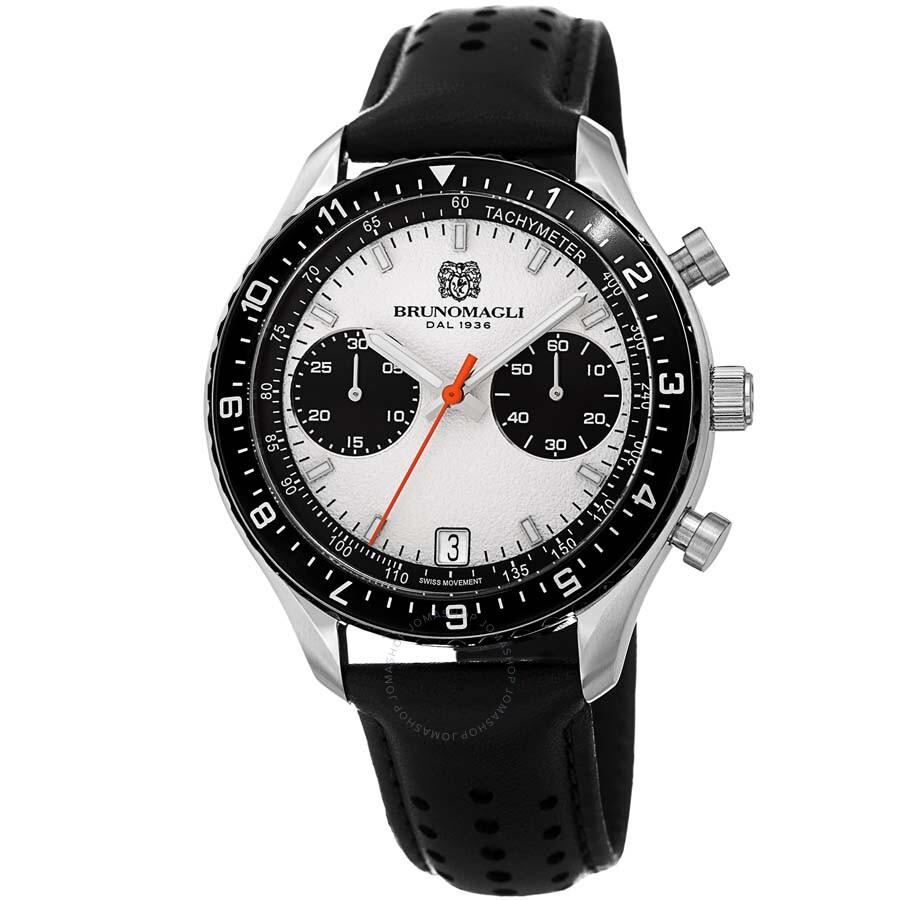 ccb1aca9ce8 Bruno Magli Marco 1081 Chronograph Italian Leather Swiss Quartz Watch Item  No. 14.181081.SA