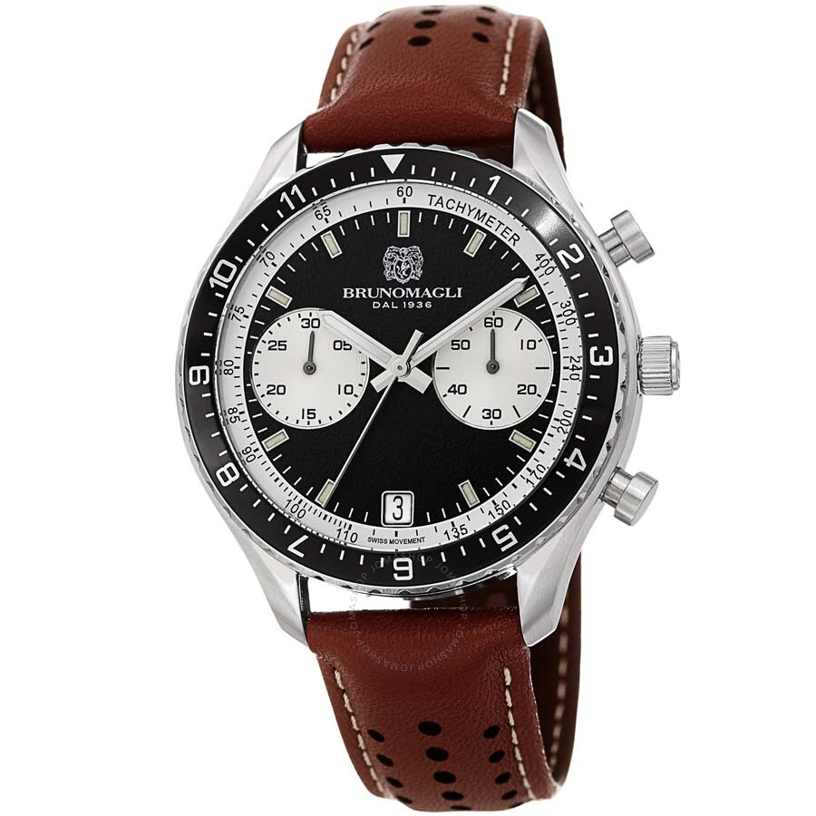 a41ffea43c7 Bruno Magli Marco 1081 Chronograph Italian Leather Swiss Quartz Watch  14.181081.