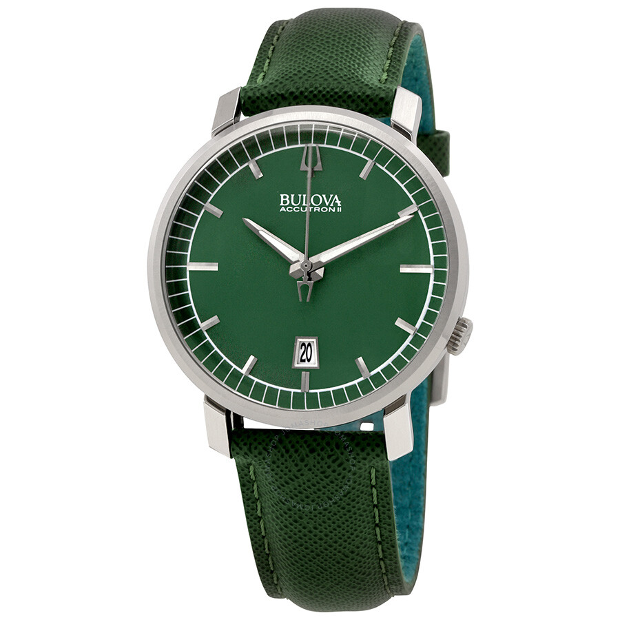 bulova watches jomashop bulova accutron ii green dial green leather men s watch