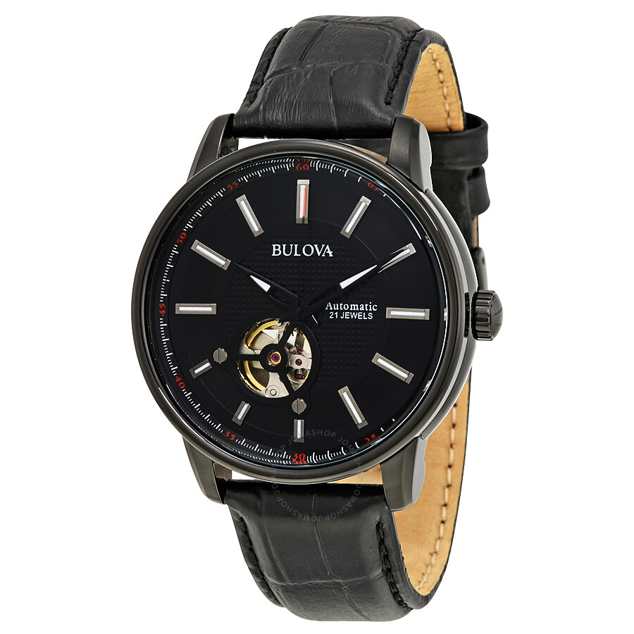 Bulova black dial automatic men 39 s leather watch 98a139 bulova watches jomashop for Watches bulova