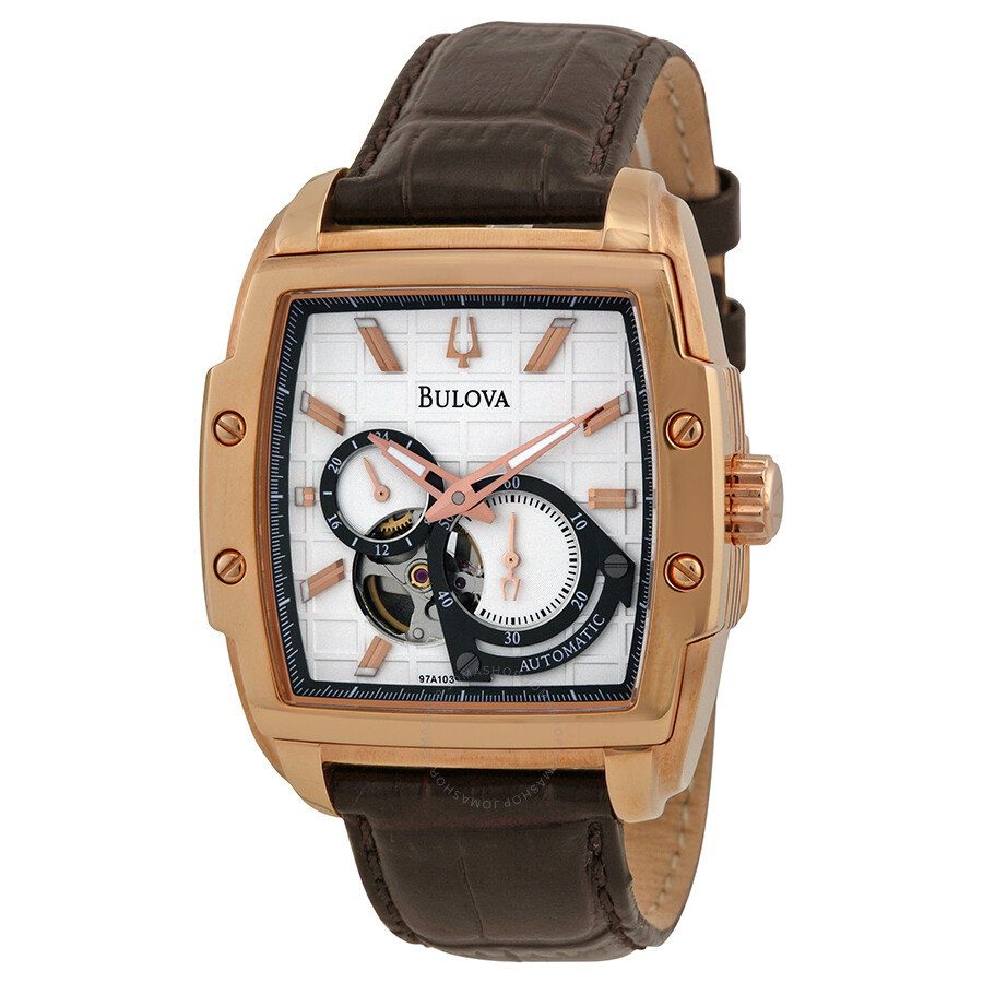54732df61 Bulova Automatic Silver White Dial Brown Leather Men's Watch 97A103 ...