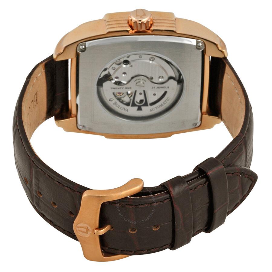 7e05c2b85 ... Bulova Automatic Silver White Dial Brown Leather Men's Watch 97A103 ...