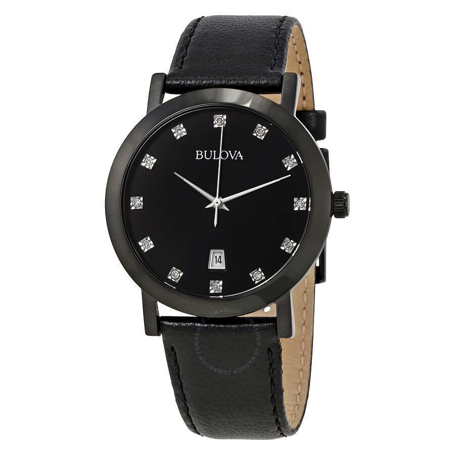 Bulova black dial men 39 s diamond watch 98d124 diamond bulova watches jomashop for Watches bulova