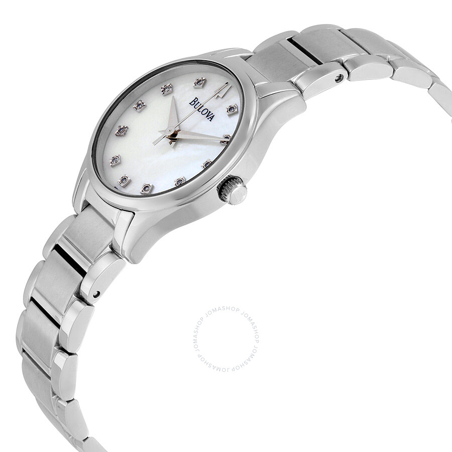 Bulova mother of pearl diamond dial stainless steel ladies watch 96p141 diamond bulova for Mother of pearl dial watch