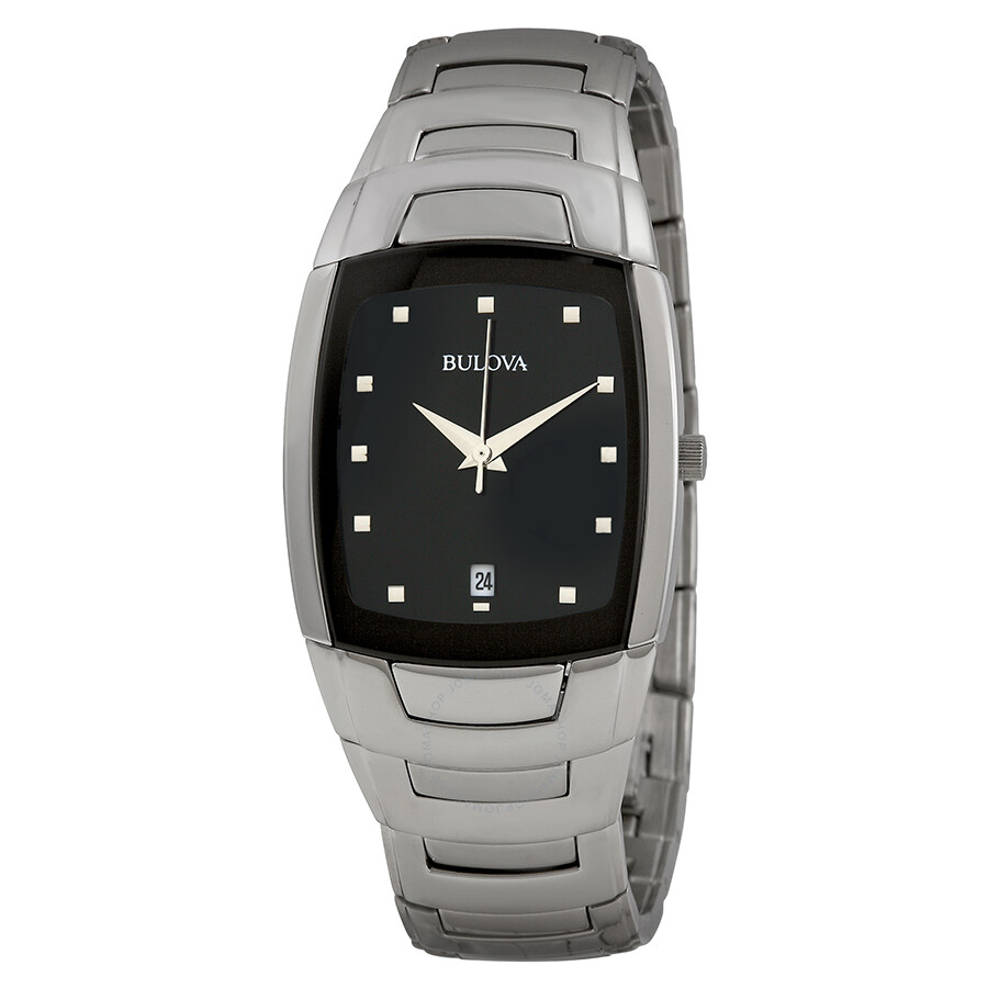 bulova bracelet black dial stainless steel men s watch 96g46