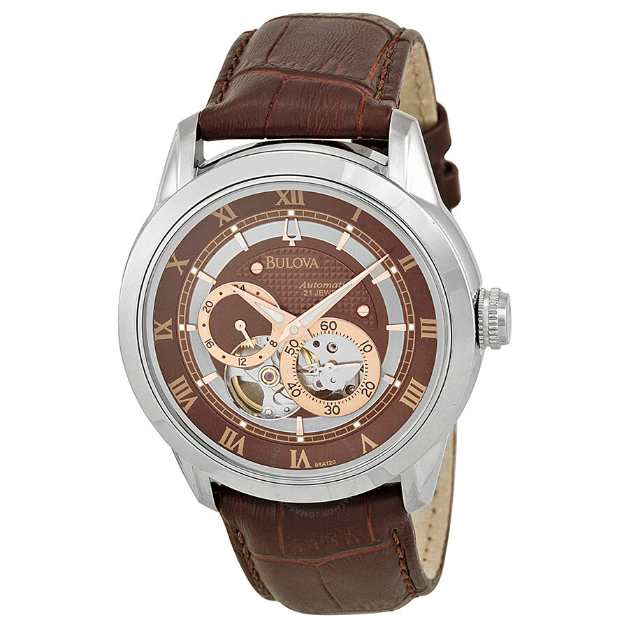 Bulova brown dial leather strap mechanical men 39 s watch 96a120 mechanical bulova watches for Watches bulova