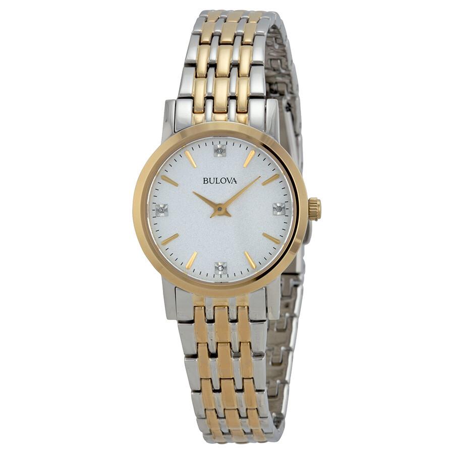 Bulova casual diamonds ladies watch 98p115 diamond bulova watches jomashop for Woman diamond watches