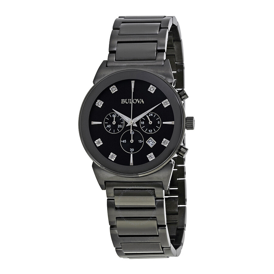Bulova chronograph black dial diamond men 39 s watch 98d123 diamond bulova watches jomashop for Watches bulova