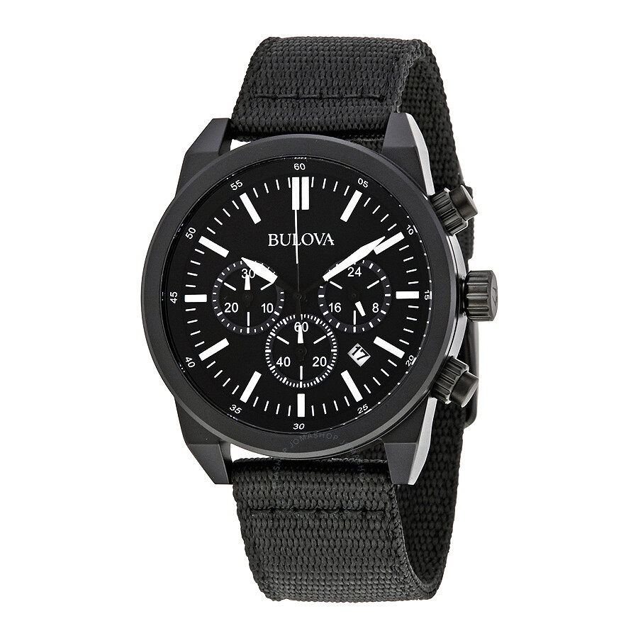 Bulova black dial men 39 s chronograph watch 98b280 bulova watches jomashop for Watches bulova