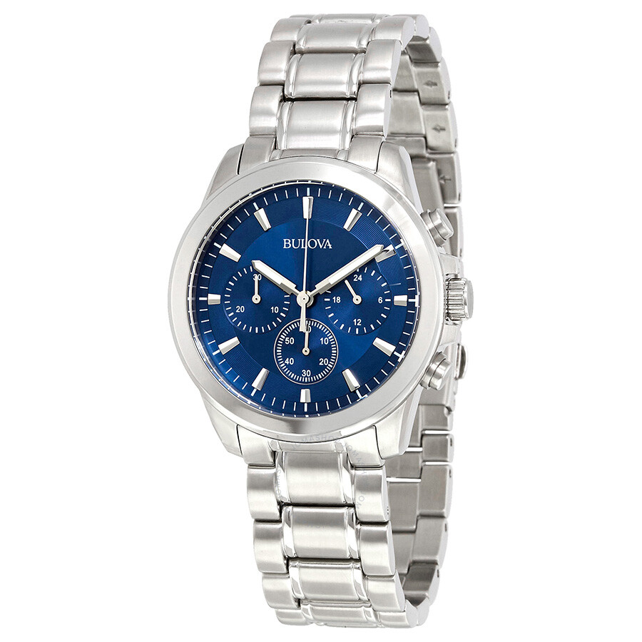 Bulova chronograph blue dial stainless steel men 39 s watch 96a178 bulova watches jomashop for Bulova watch