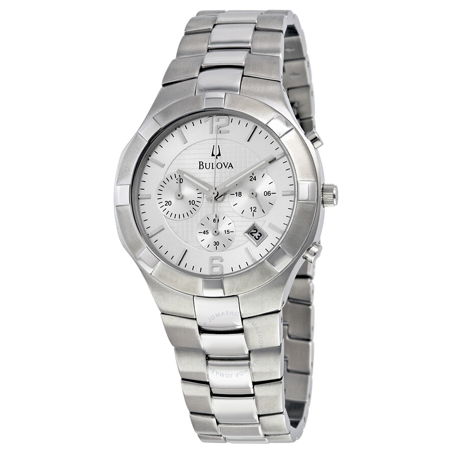 bulova chronograph silver stainless steel s