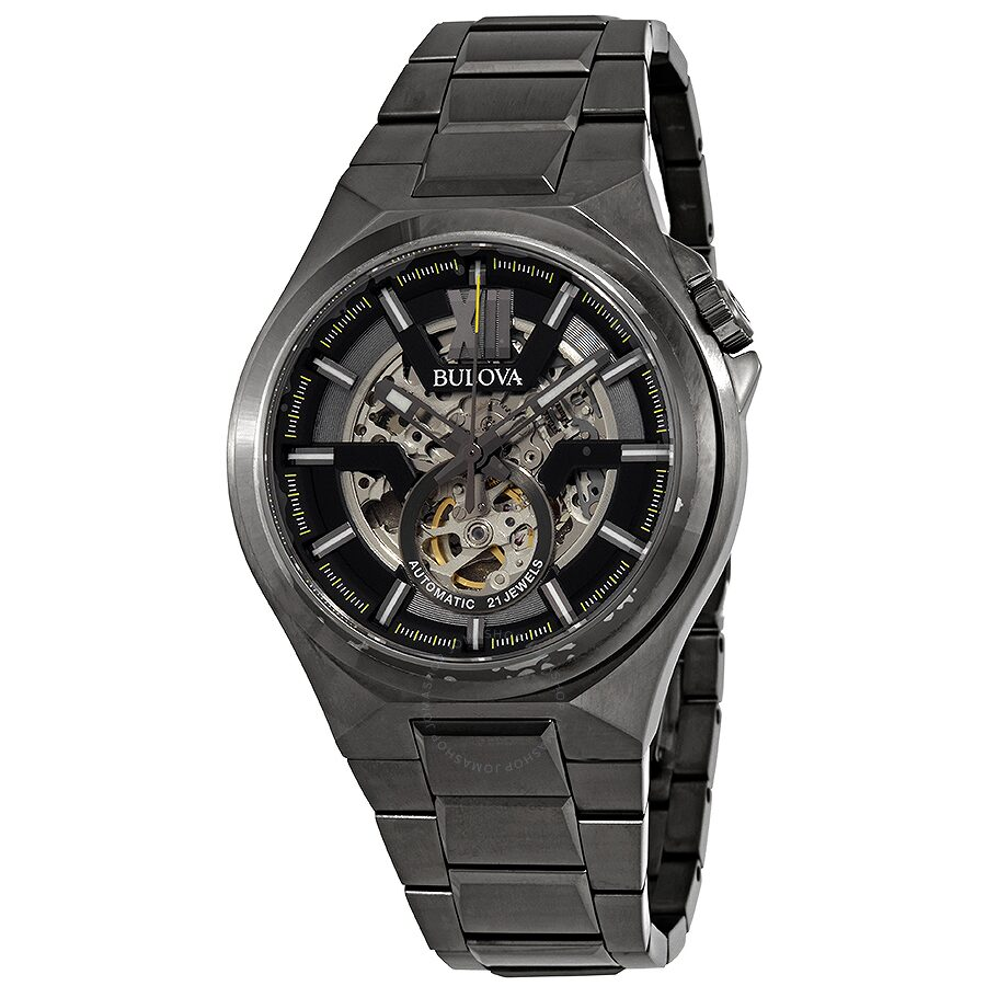Bulova classic automatic gunmetal skeleton dial men 39 s watch 98a179 classic bulova watches for Classic skeleton watch
