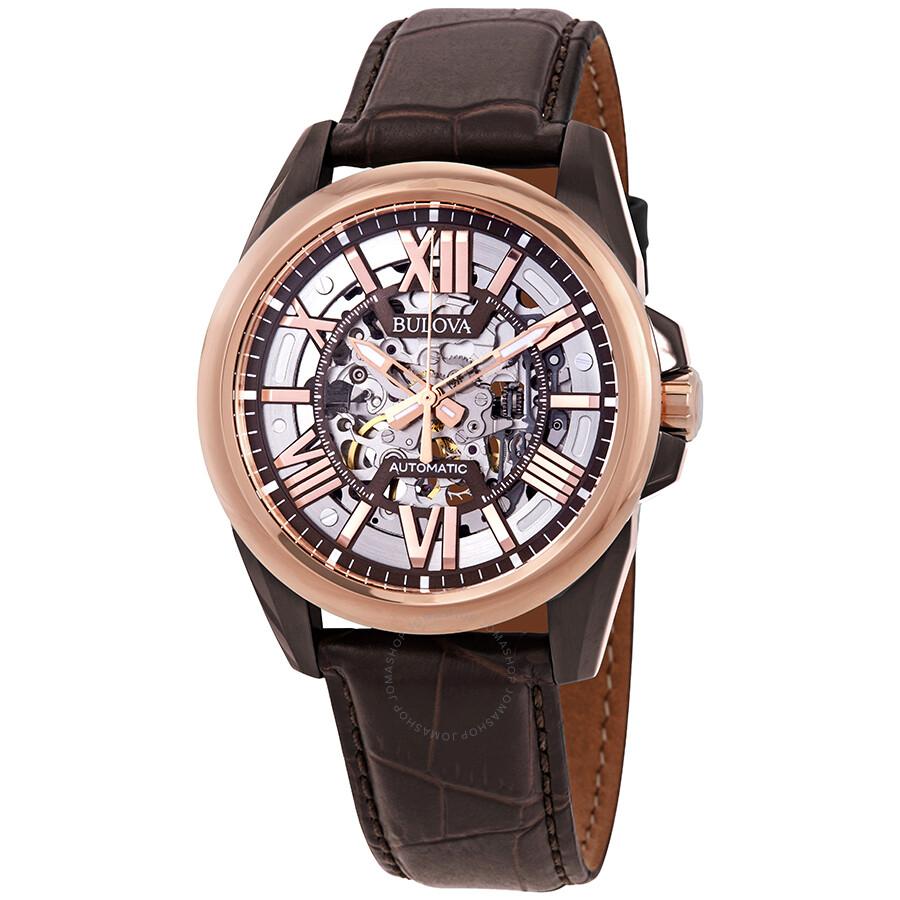 Bulova classic automatic skeleton dial men 39 s watch 98a165 classic bulova watches jomashop for Classic skeleton watch