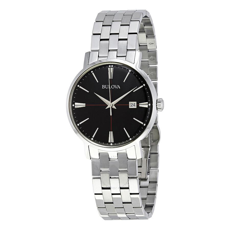 bulova classic black dial stainless steel men s watch 96b244