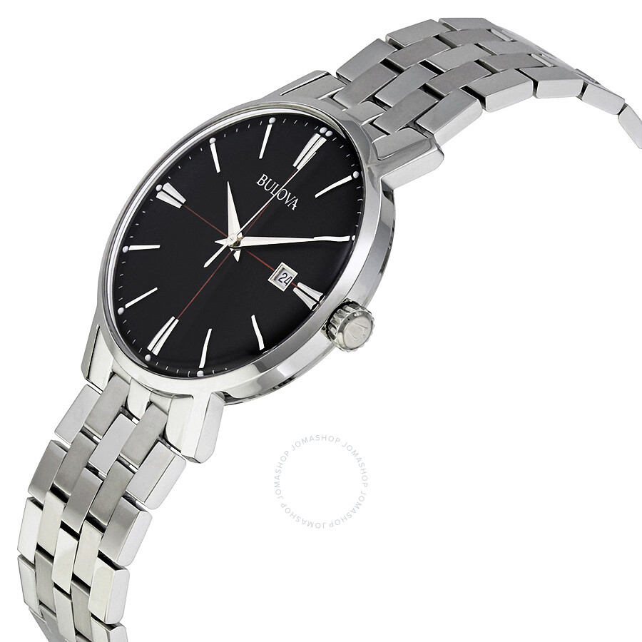 Bulova classic black dial stainless steel men 39 s watch 96b244 bulova watches jomashop for Metal watches