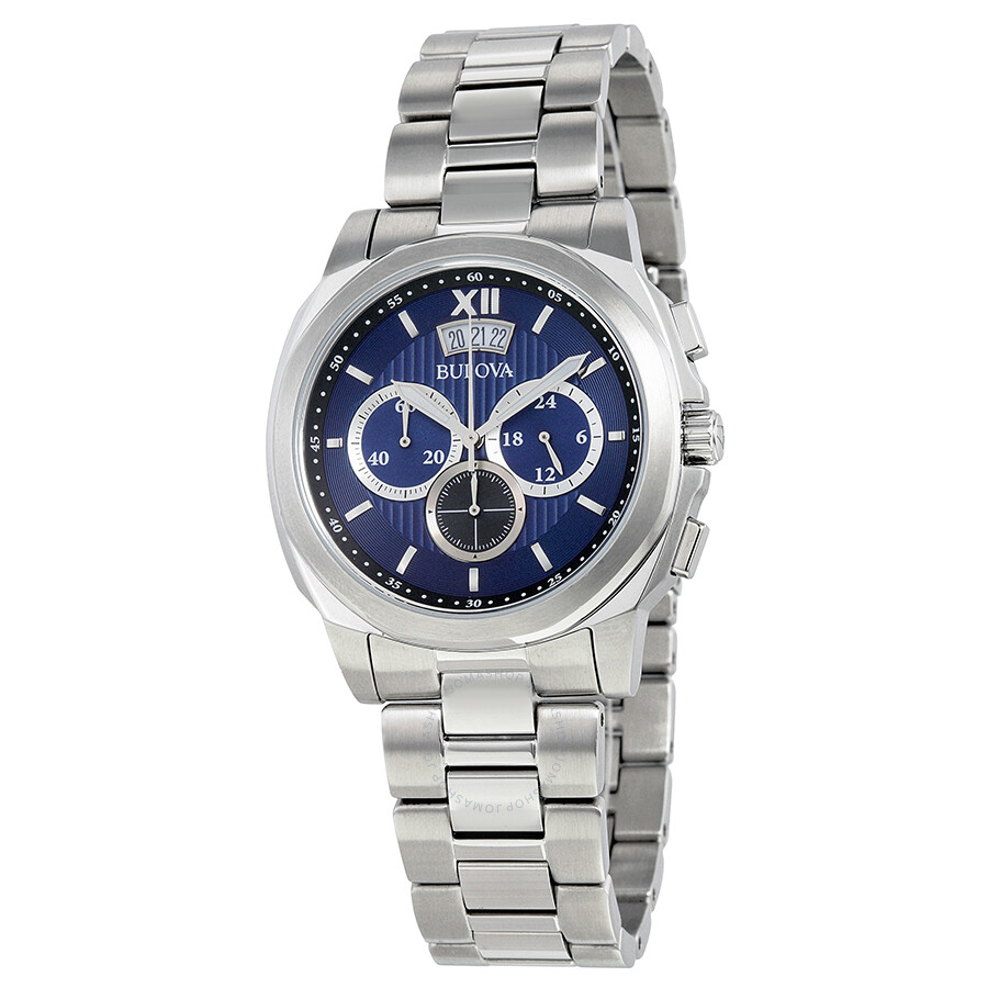 Bulova classic chronograph blue dial stainless steel men 39 s watch 96b219 classic bulova for Watches bulova