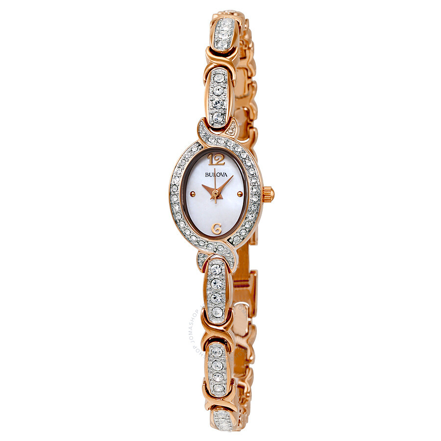 Bulova crystal accent rose gold tone stainless steel bracelet ladies watch 98l200 crystal for Crystal ladies watch