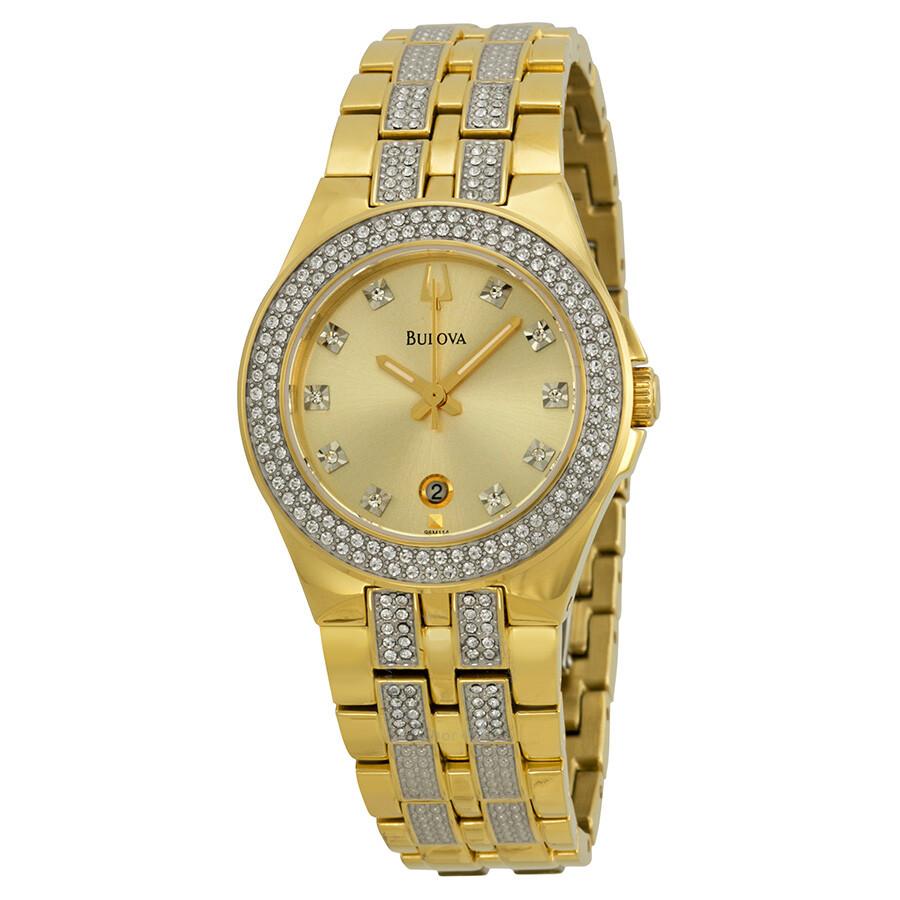 Bulova crystal champagne dial stainless steel bracelet ladies watch 98m114 crystal bulova for Crystal ladies watch