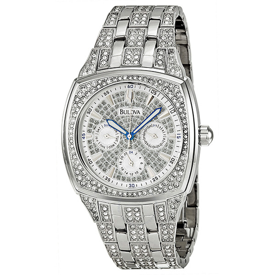 Bulova Crystal Day-Date Silver Crystal-set Dial Men's Watch 96C002