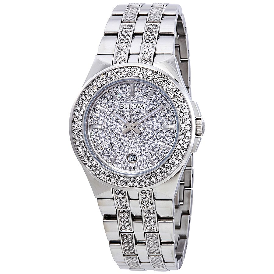 Bulova crystal pave men 39 s watch 96b235 crystal bulova watches jomashop for Crystal watches