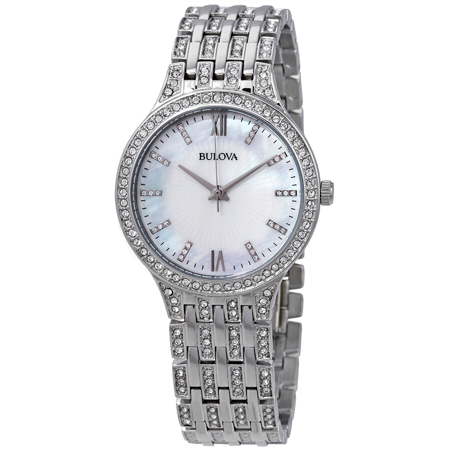 ca4fb971e8a31 Bulova Crystal Mother of Pearl Dial Ladies Watch 96L242