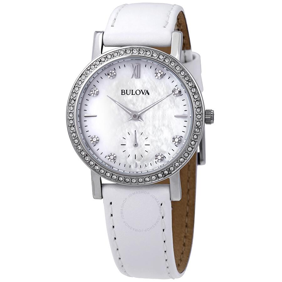 Bulova crystal mother of pearl dial ladies watch 96l245 crystal bulova watches jomashop for Mother of pearl dial watch