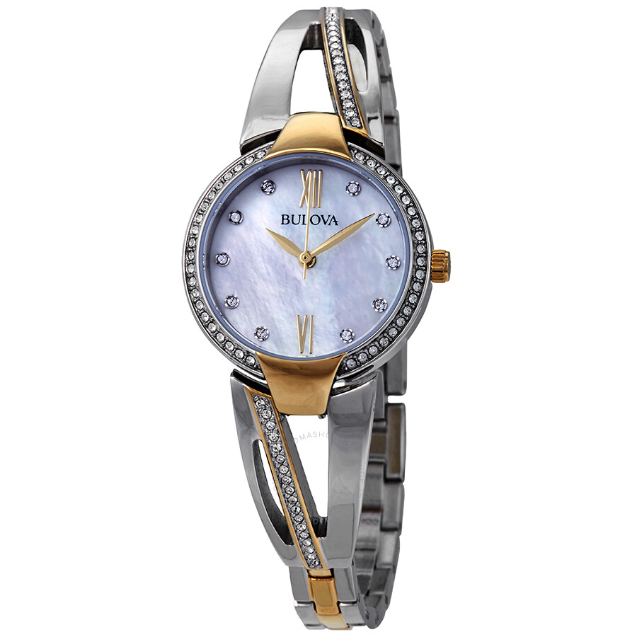 8db827fb04a74 Bulova Crystal Mother of Pearl Dial Two-tone Ladies Watch 98L227