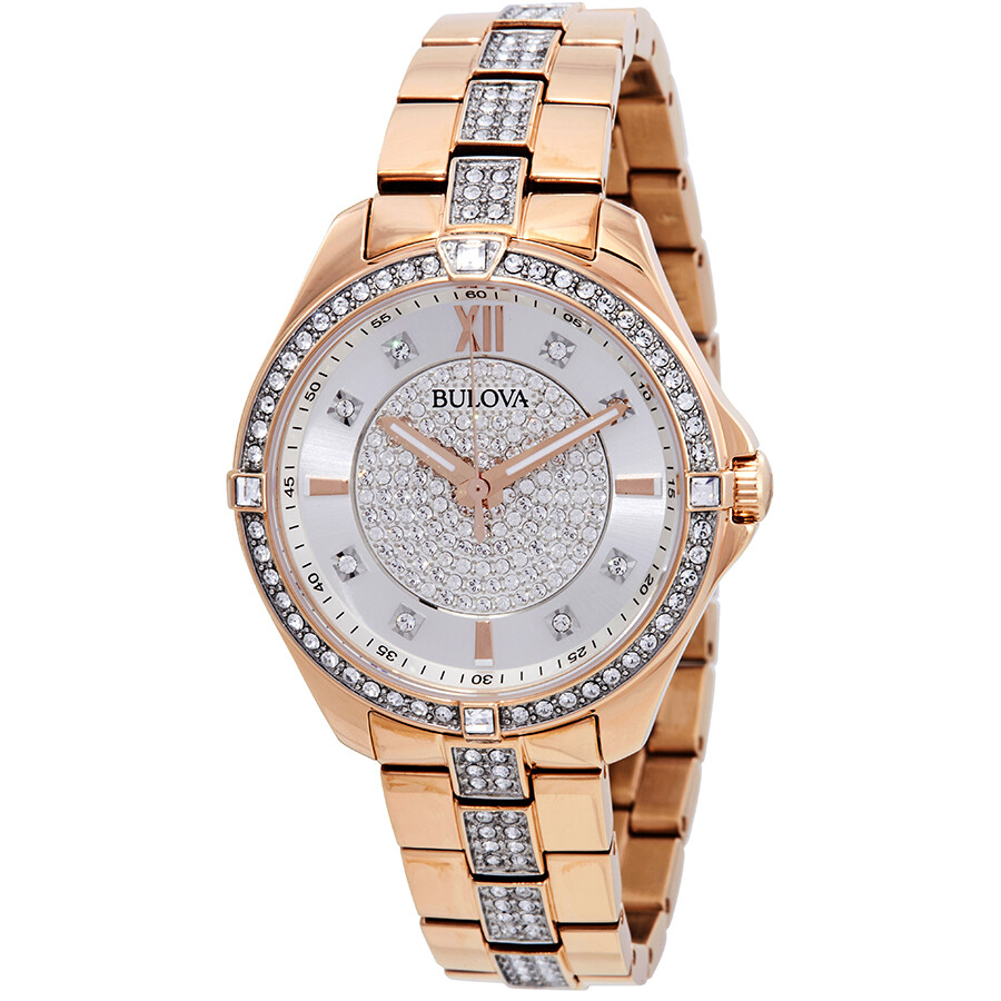 Bulova crystal silver dial ladies watch 98l229 crystal bulova watches jomashop for Crystal watches