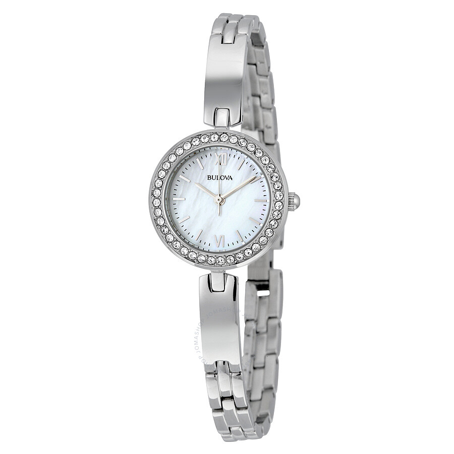 Bulova crystal white mother of pearl dial ladies watch 98x107 crystal bulova watches for Pearl watches