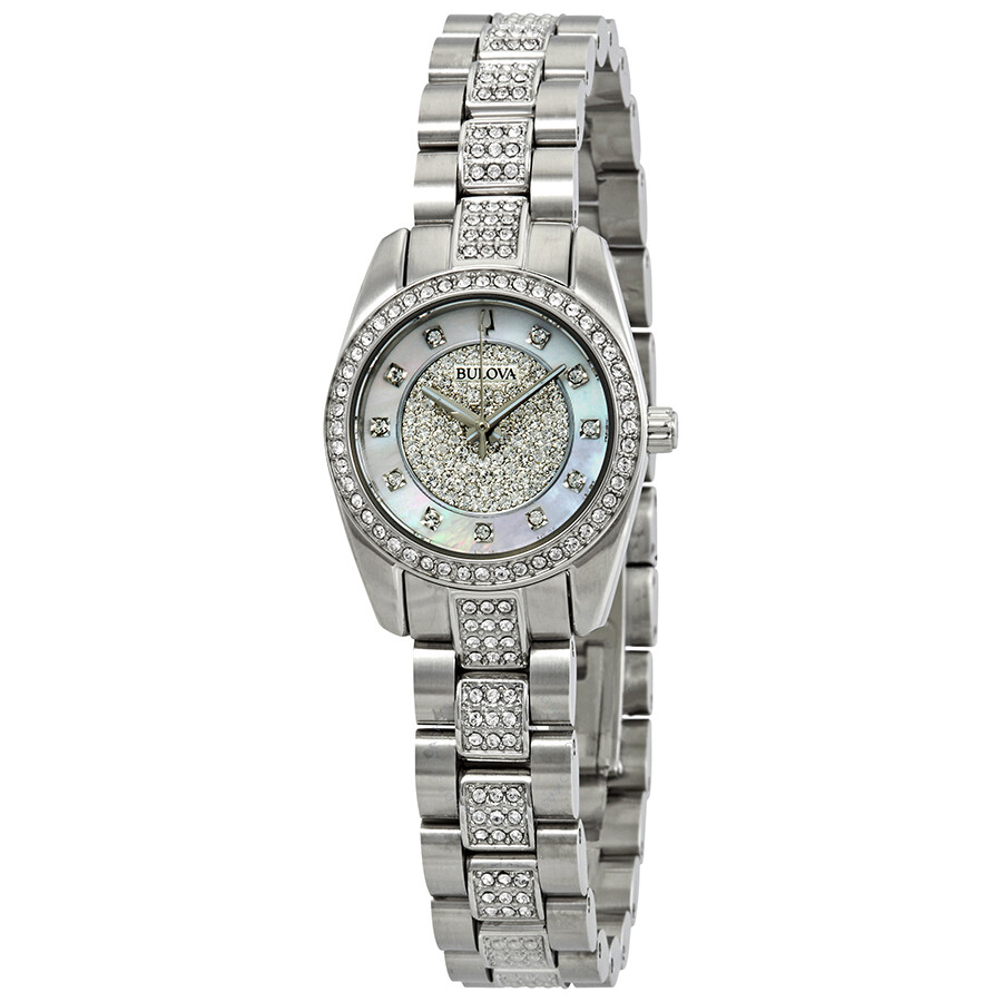 77c59d4902c66 Bulova Crystal White Mother of Pearl Dial Ladies Watch 96L253