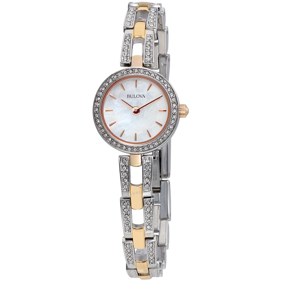 Bulova crystal white mother of pearl dial ladies watch 98l212 crystal bulova watches for Crystal ladies watch