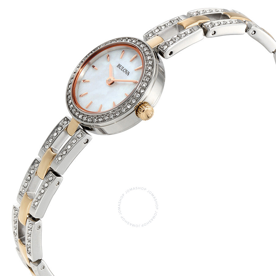 Bulova crystal white mother of pearl dial ladies watch 98l212 crystal bulova watches for Mother of pearl dial watch